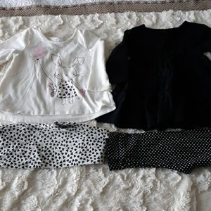 Baby girl bundle 2 piece outfits 12m black white
